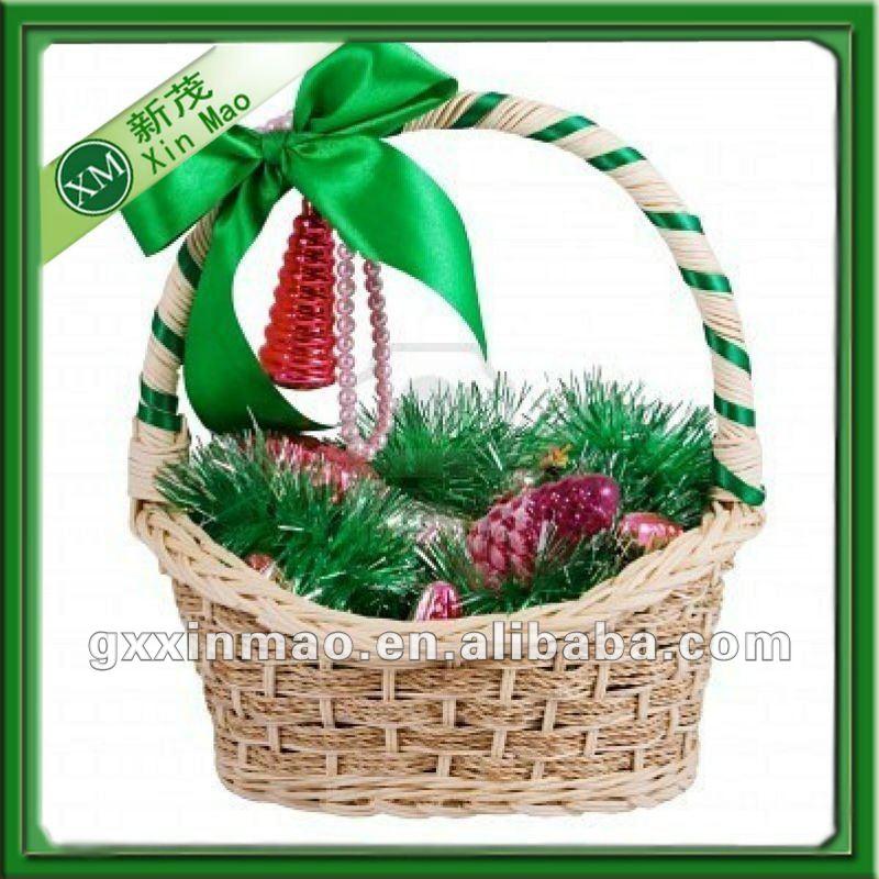 Navidad de mimbre cesta con mango suministros de fiestas y - Como adornar una cesta de mimbre ...