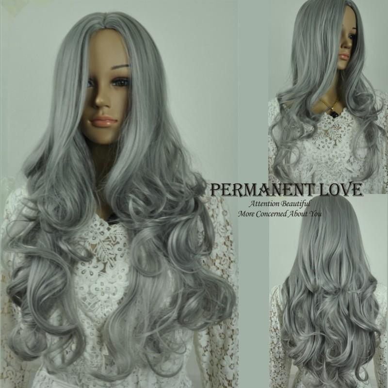 Astounding Heat Resistant Synthetic Long Grey Wig Cheap Body Wave Gray Short Hairstyles Gunalazisus