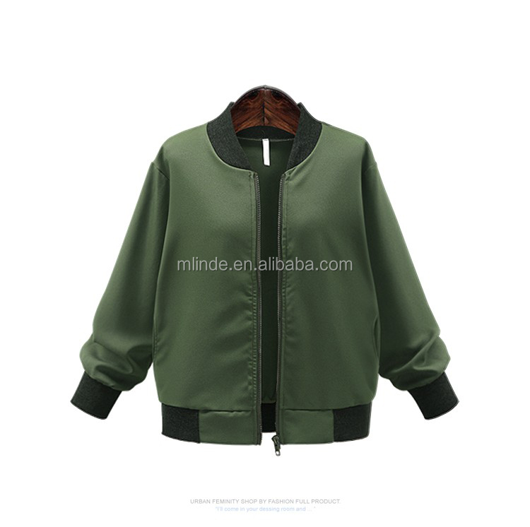 Autumn Women Plus-size Clothing Solid Color Stand Collar Zipper Loose  Straight Jacket Female Casual Baseball Uniform Coat Jacket - Buy Plain  Baseball