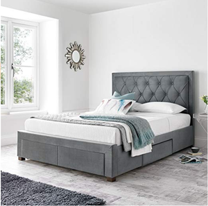 Upholstered in a beautiful soft grey fabric elegant storage bed