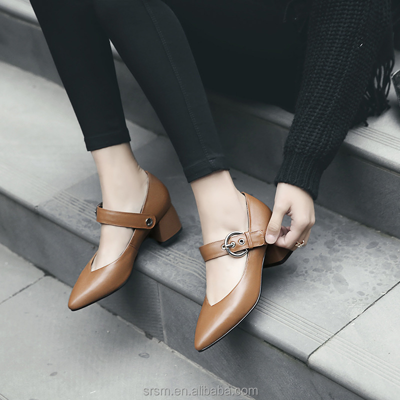 shoes New Arrival SARP06 buckle with lady thick 2018 heel F5Cxwnq8R