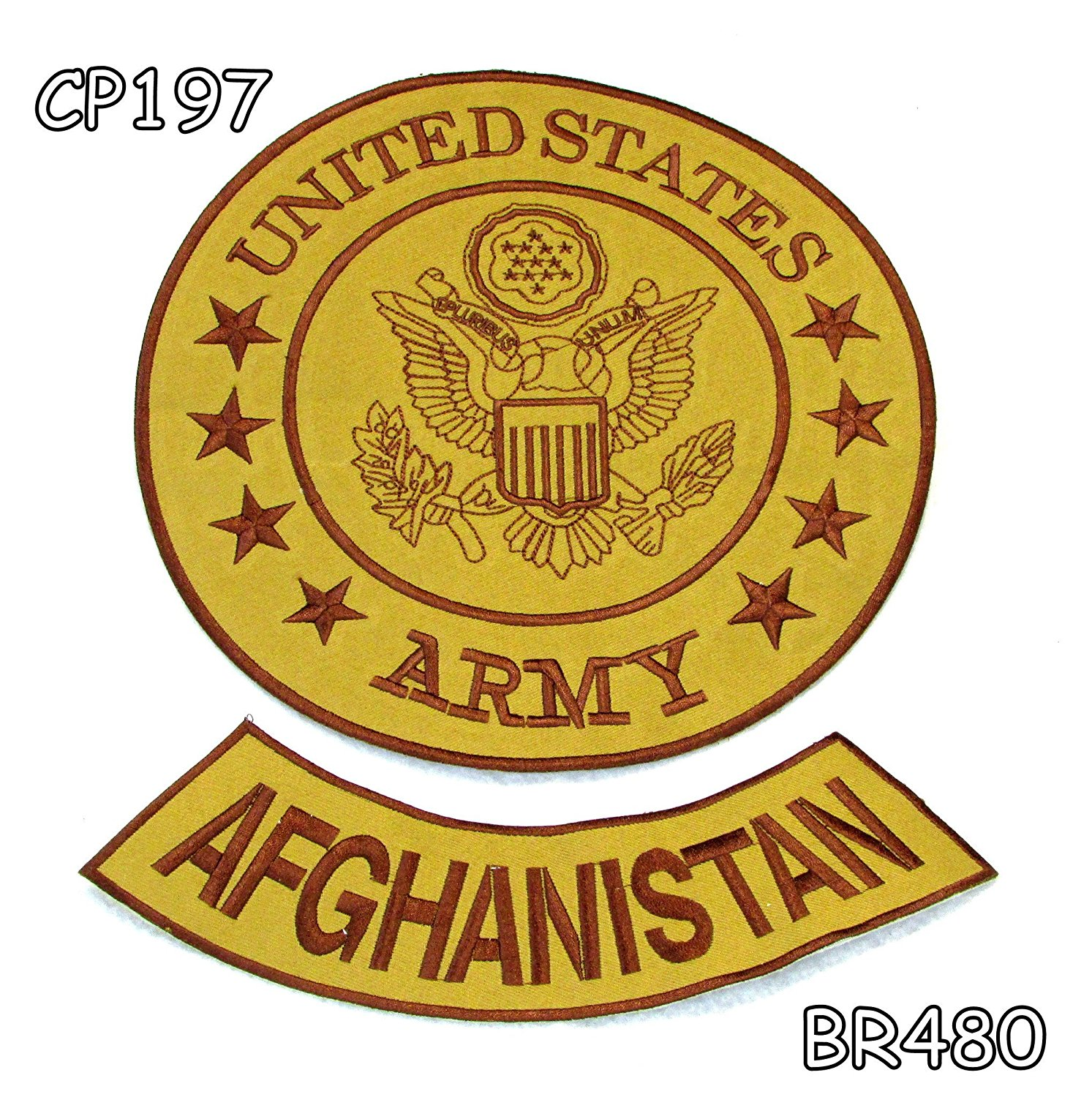 ARMY AFGHANISTAN Brown on Gold Iron on 3 Patches Set for Biker Jacket
