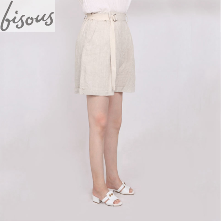 Women's Casual Stretch Solid Waist Cute Cotton Linen Drawstring Athletic Comfy Shorts