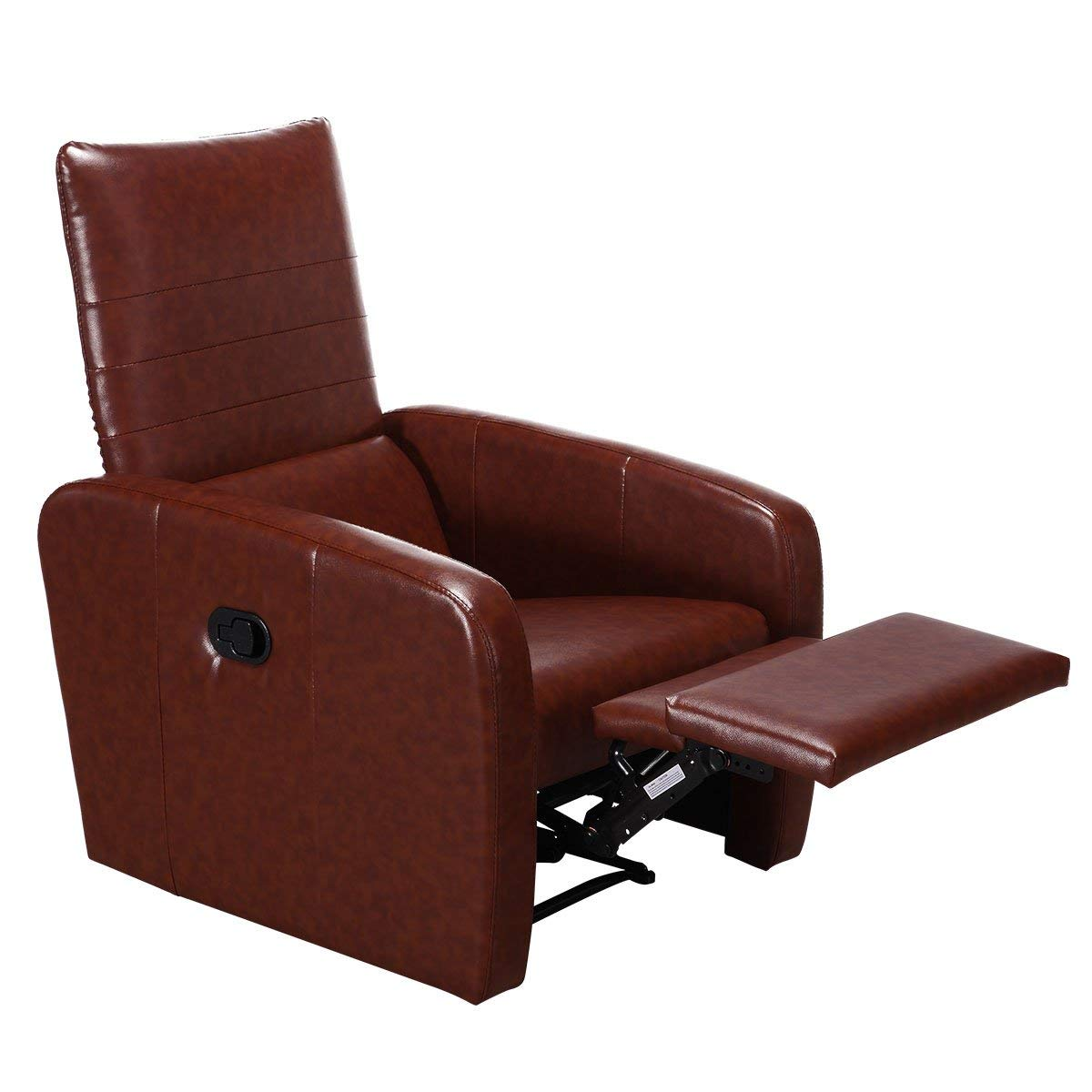 Giantex Manual Recliner Chair Home Theater Living Room Leather Bonded Accent Furniture w/Ergonomic Foldable Back Stretching Legrest Contemporary Lounge Modern Deluxe Reclining Sofa Chair, Brown