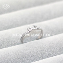Fashion Jewelry tight hoop Crystal Women Wedding Opening 925 Sterling Silver Finger Ring