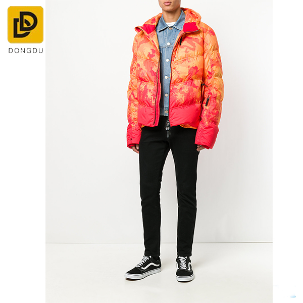 Men Winter Padded Jacket Printed Camouflage Puffer Jacket with Hood