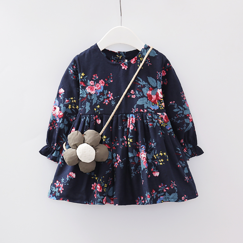 2020 wholesale boutique toddler dresses baby floral dress cotton with bags