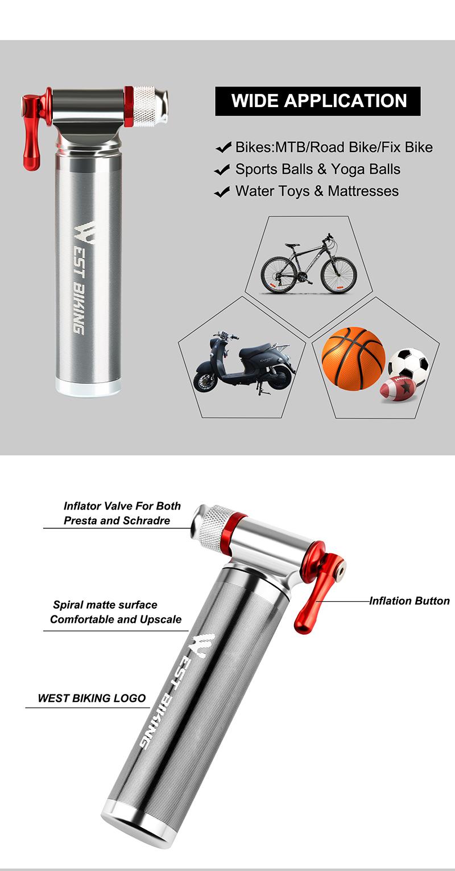West Bersepeda Sepeda Mini Hand Air Ban Basket Pompa Portable Mini Bike Mini Co2 Pompa Air untuk Sepeda Aksesoris Sepeda