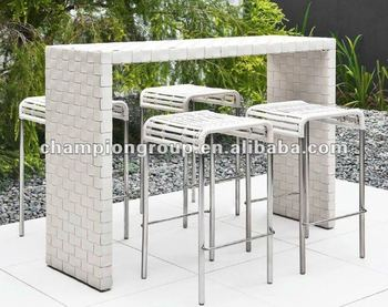 Outdoor Bar Table Set,Bar Chair,Bar Stool With Stainless Steel - Buy ...