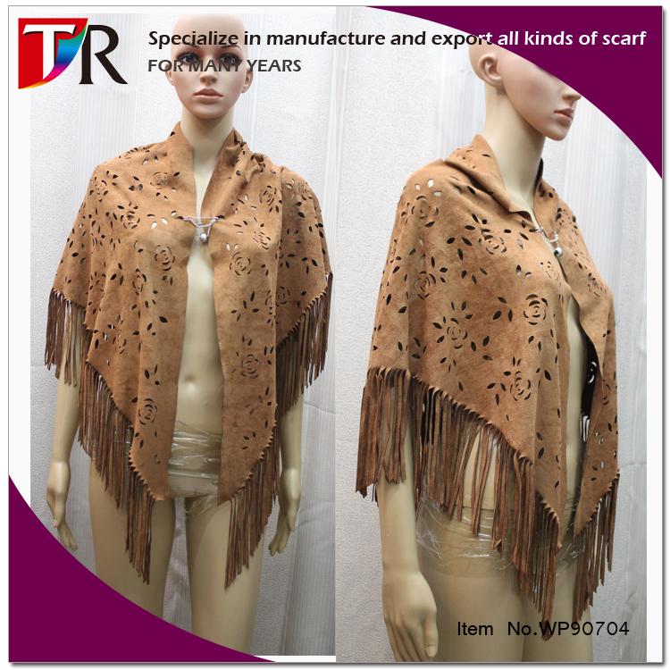 8c36b7f93 winter newest women faux suede fabric scarf suede fringe shawl poncho