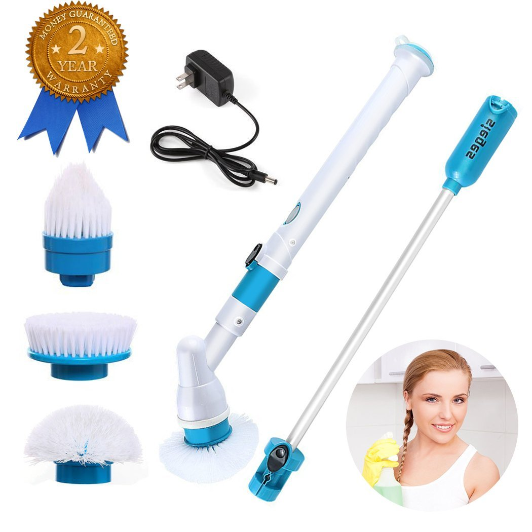 Electric Spin Scrubber, FUNOC 360 Cordless Tub and Tile Scrubber with 3 Replaceable Cleaning Scrubber Brush Heads Extension Handle for Bathroom, Floor, Tiled Wall and Kitchen