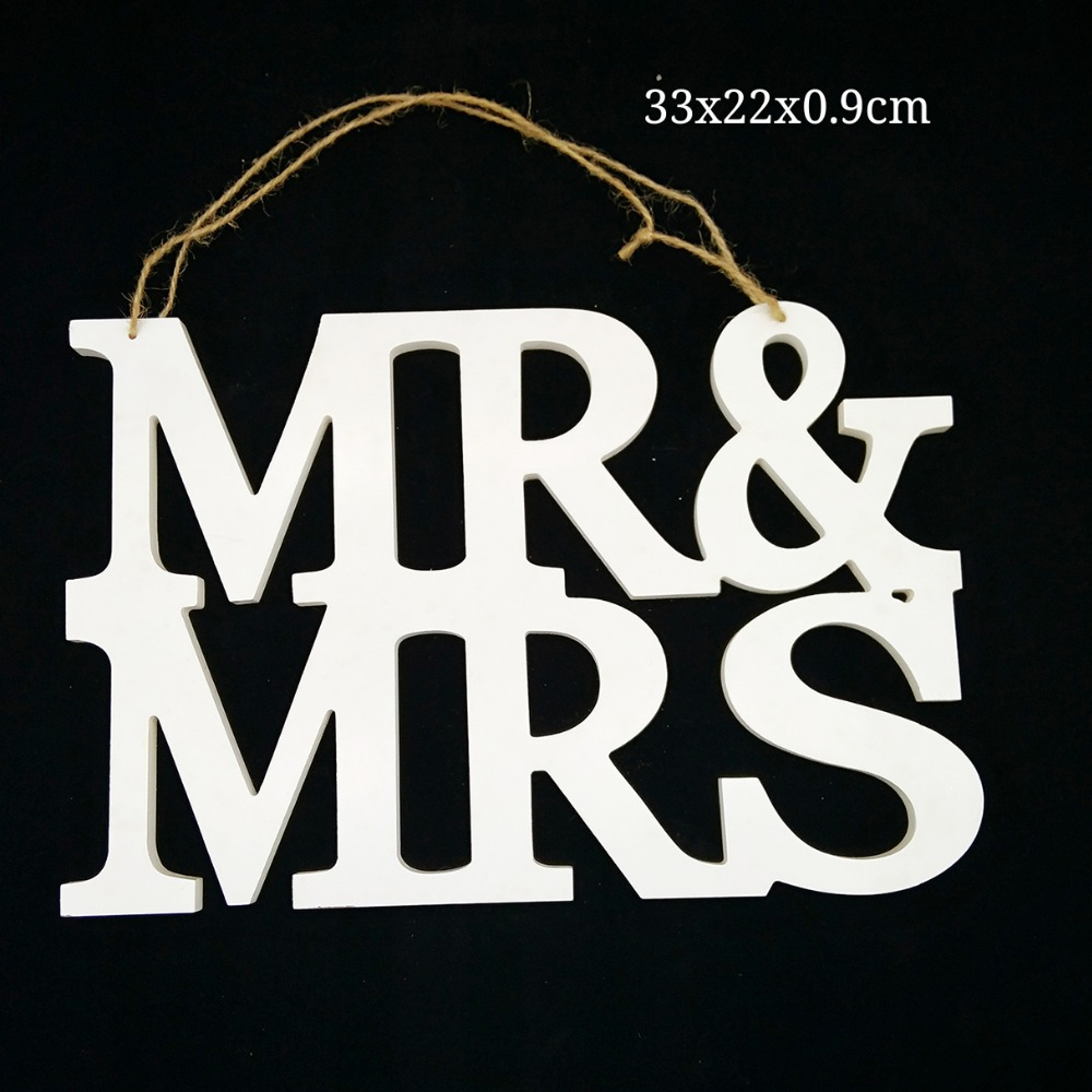 MR & MRS Wooden White Hanging Embellishment For Rustic Wedding Craft Decoration