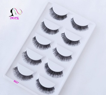 Factory direct private label synthetic fiber glue false eyelash packs in 5 pair lashes clear plastic cable