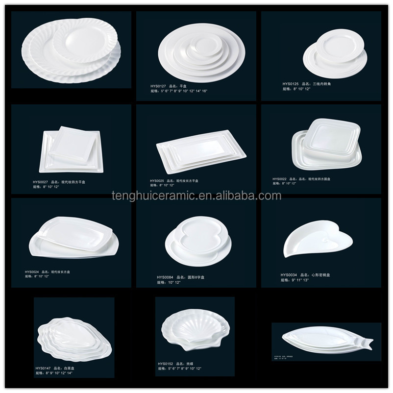 Hotel Tableware Restaurant Dinnerware Ceramic White Oval