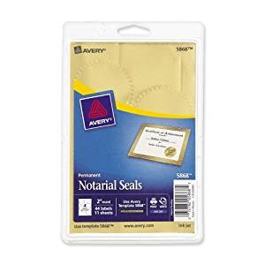 """Wholesale CASE of 25 - Avery Print or Write Gold Notrarial Labels-Notarial And Certificate Seals, 2"""" Diameter, 44/PK, Gold"""