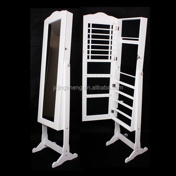 Floor Mirror Jewelry Armoire Standing Mirror Jewelry Box Rotating ...