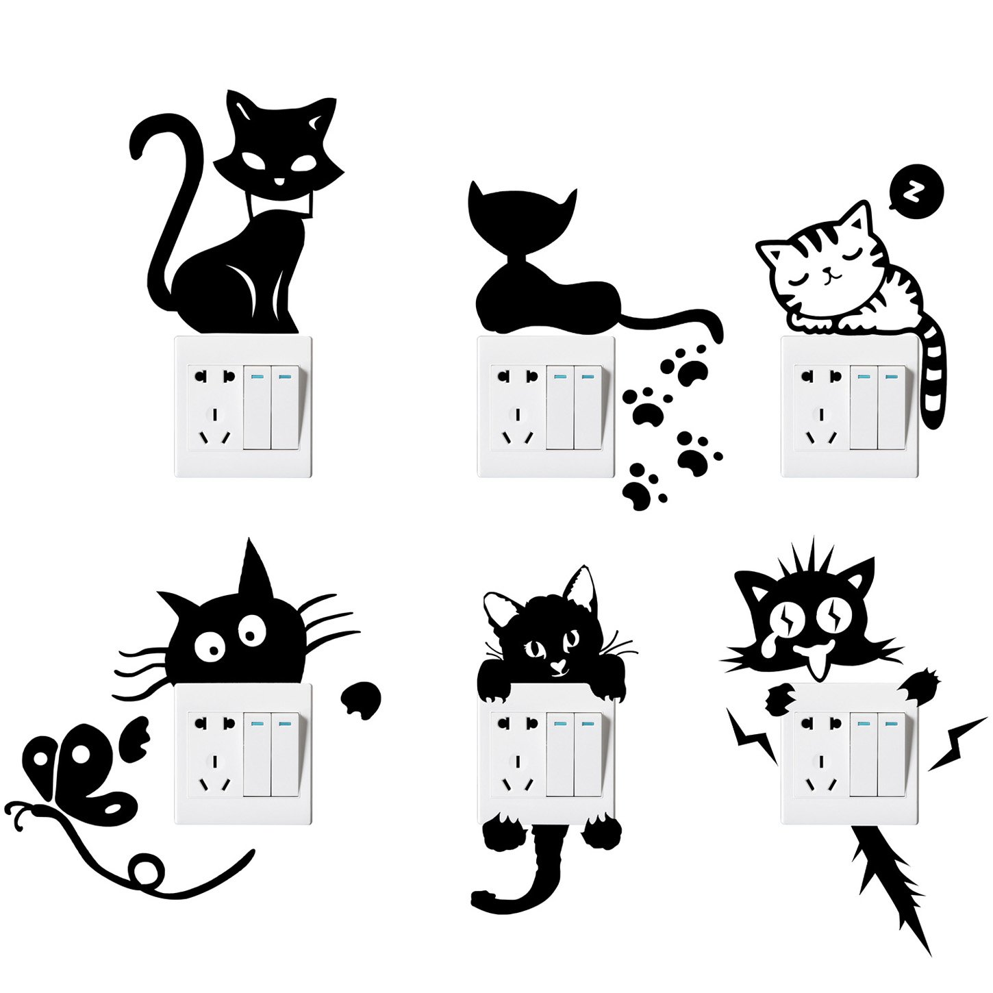 Waterproof and Removable Honbay 9-Piece Cute 3D Cat Wall Decals Living Room Bedroom Decoration Animal Wall Stickers Toilet Lid Stickers Refrigerator Stickers