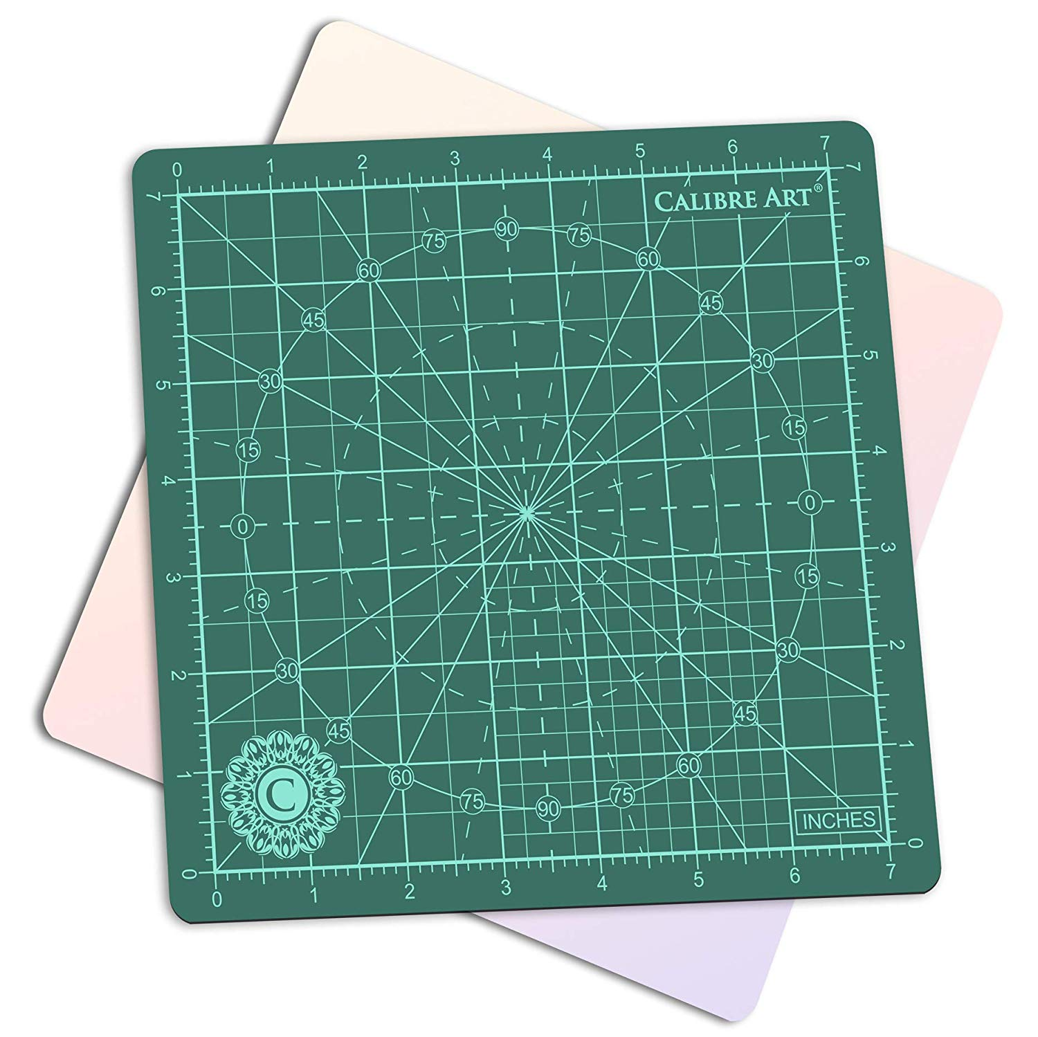 "Calibre Art Rotating Self Healing Cutting Mat, Perfect for Quilting & Art Projects, 8x8 (7"" grids)"