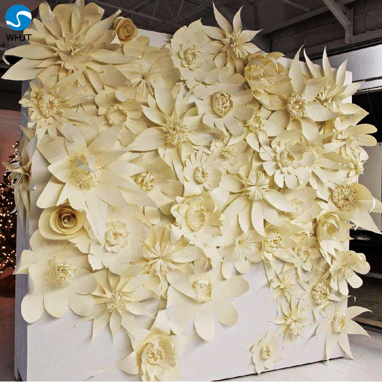Wedding stage flower decoration paper flowers wedding wall ...