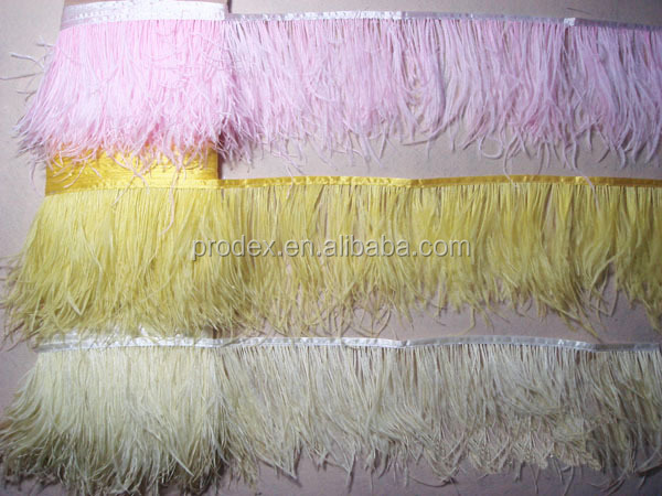 Fashion dress ostrich feather trim fringe