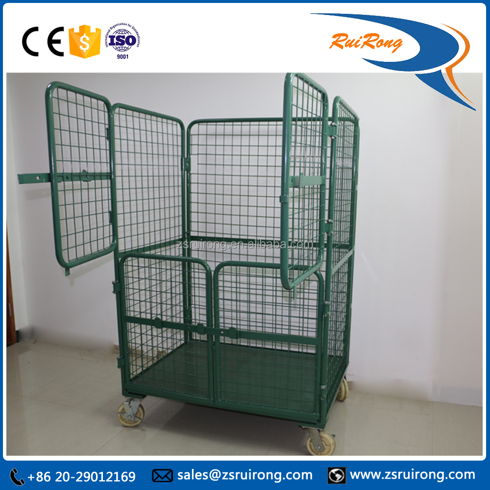 collapsible wire mesh logistic storage roll container