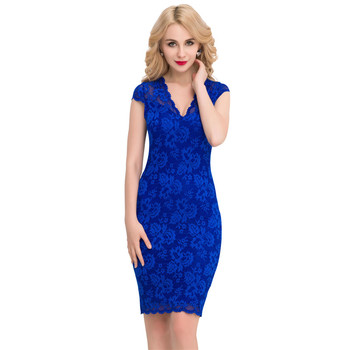 2017 New sexy plus size woman V-neck lace sexy bodycon dress