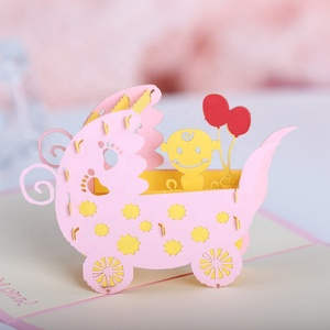 Handmade New Born Baby Carriage Card 3D Pop Up Greeting Card for Baby Birthday
