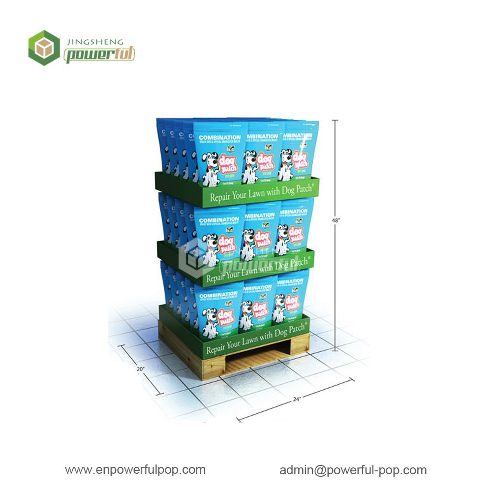 3 layers dog patch corrugated case stacker display tary