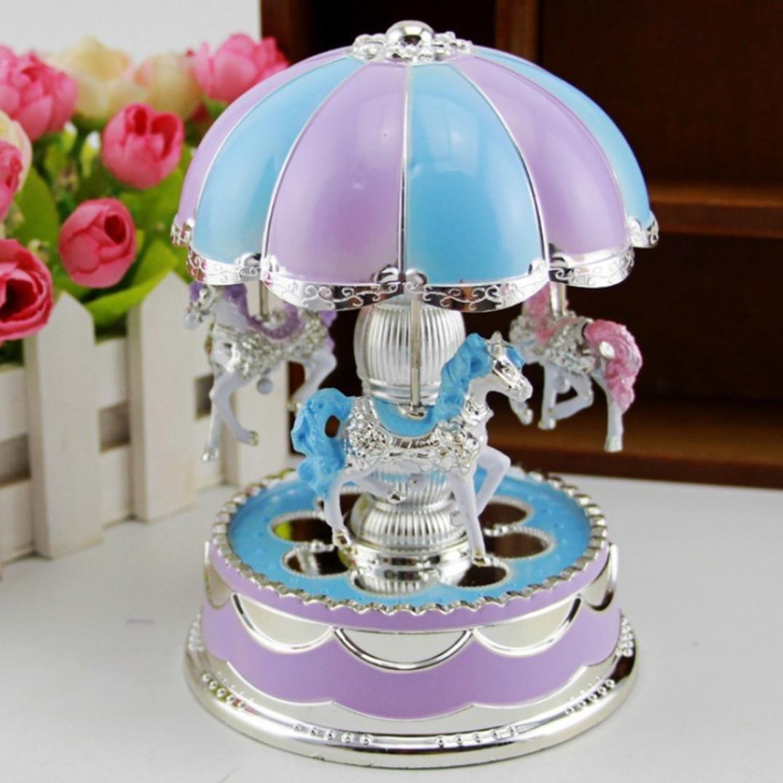Creative Wondeful Gift,Highpot Romantic Merry-Go-Round Music Box Baby's Room Lamp Bedside Light Home Decor Carousel Kid Gift (Purple)