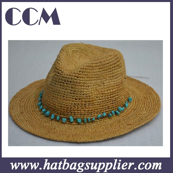 Ráfia Em Branco De Crochê Chapéu Panamá De Palha Na Qualidade ... 03104dc2e34