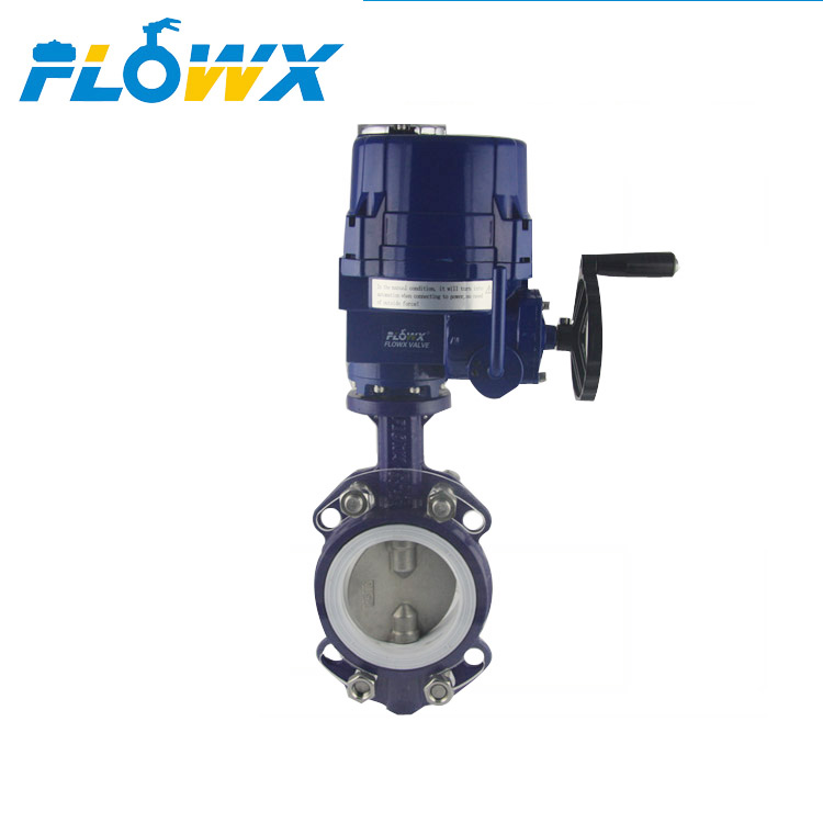 Explosion Proof AC240V Motorized Aktuator Listrik Cast Iron Wafer Butterfly Valve