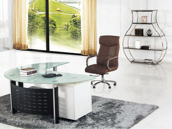 Moderne verre bureau bureau verre table de bureau petit verre