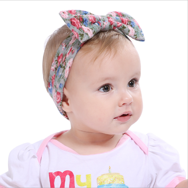 Fashion floral large bow cotton headband for baby hair accessories