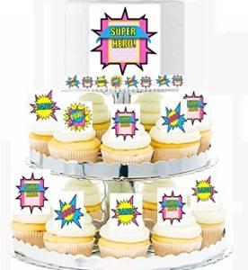 CakeSupplyShop Item#24519 Girl's Super Hero Theme Cascading Cupcakes - Cake Toppers & Edible Picks