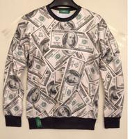 Mens womens 3D U.S. dollar print sweatshirt Hoodies Unisex jumper Pullover shirt