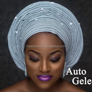 193a18770790 Queency African New Fashion Beaded Aso Oke Headtie Ready To Wear Multi  Pleat Round Auto Gele