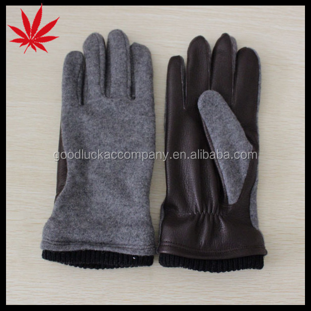 Winter lambskin and woolen knitted gloves