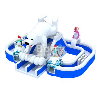 Dragon's Castle outdoor inflatable obstacle course for kids game
