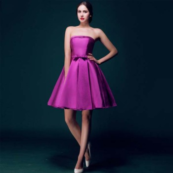 New Arrival 2017 Wedding Bridemaid Dress Short Model Purple Color Satin Fabric Strapless Hostess Ceremony