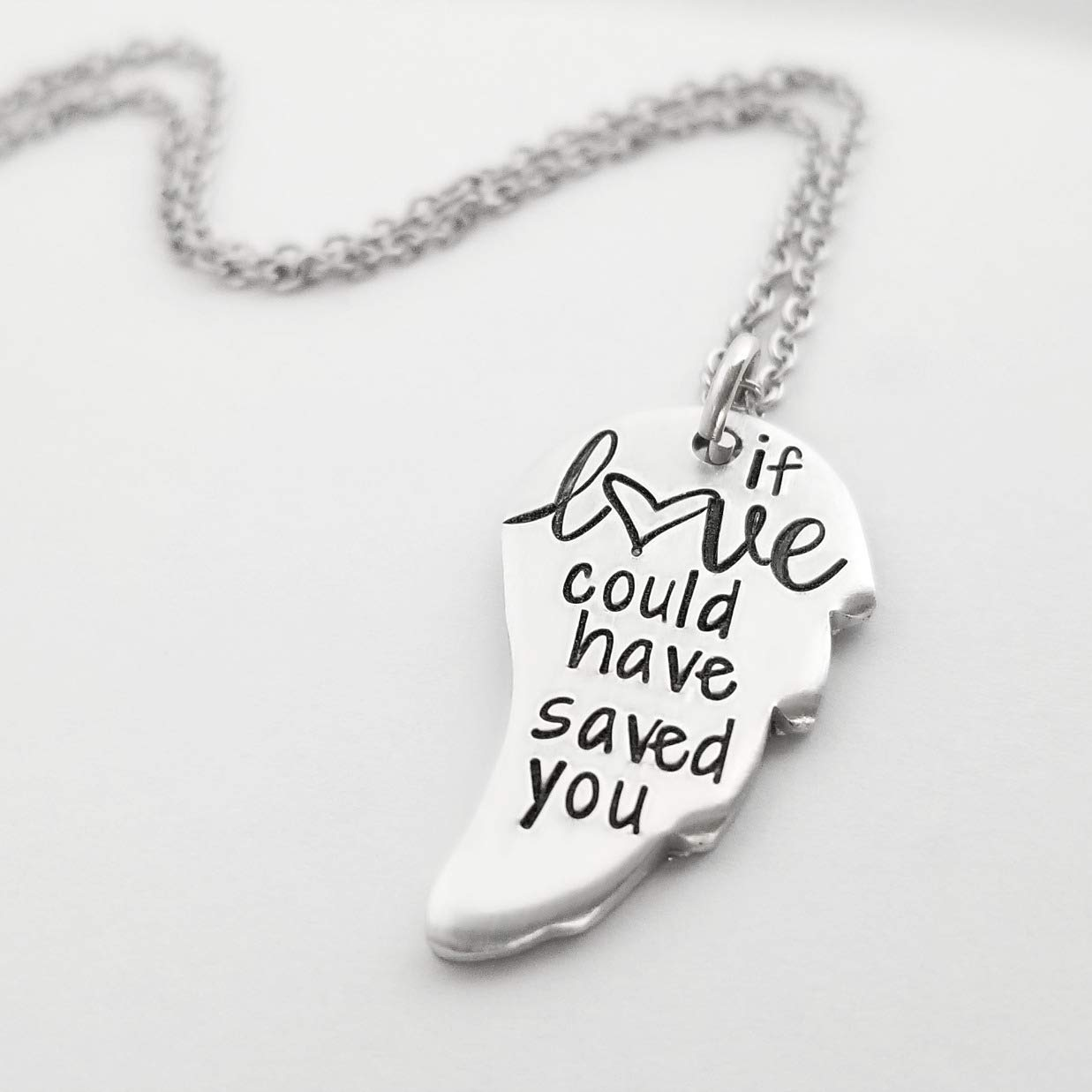 975bdde03 Get Quotations · angel wing necklace memorial gift if love could  remembrance jewelry loss of child pet father mother