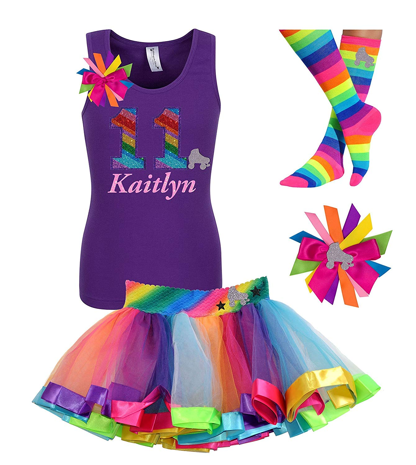 f1d5c08449cd Get Quotations · Personalized 11th Birthday Roller Skate Shirt Tutu Skirt  Rainbow Eleven Tween Girls Party Outfit 11