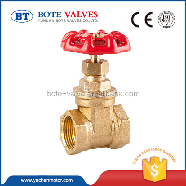 China Supplier Straight Top Compression Equal Female Thread 3/4 inch Water Brass Stop Gate Valve with Steel Handwheel