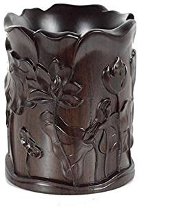 Winson-eseller Solid Wood Carving Household Act the Role ofing is tasted Redwood Carved Brush pot Black Catalpa Wood Crafts