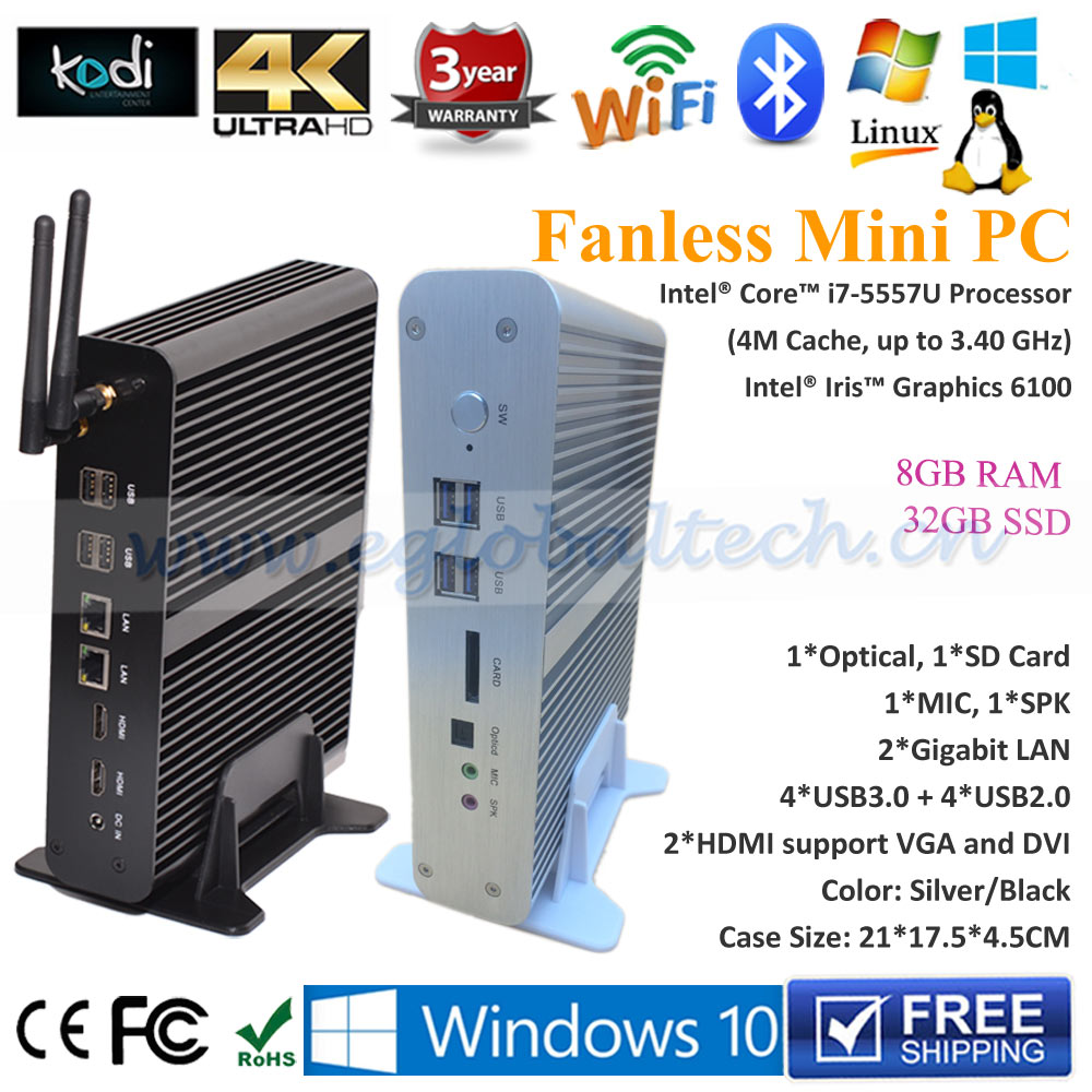 High Quality Fanless Mini ITX PC Intel Core i7 5557u 8GB DDR3 RAM 32GB SSD SD Card 2HDMI+2Nics+USB3.0+WIFI+BT
