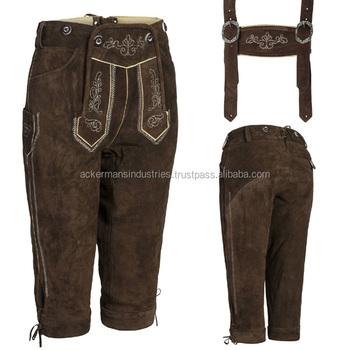 Damen Trachten Lederhose Kniebund Lederhosen With Suspenders ... d6535a075