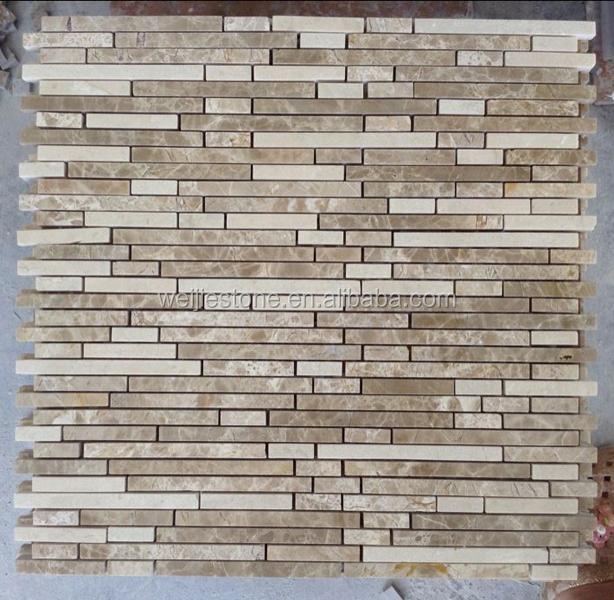 Light Emperador Crema Marfil Blend Marble Linear Mosaic