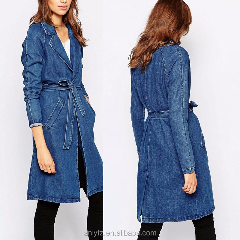women clothing plus size fashionable women duster coat ,long sleeve 100% cotton long belted duster denim coats