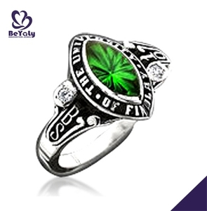 BS university green stone brass fashion jade rings for women