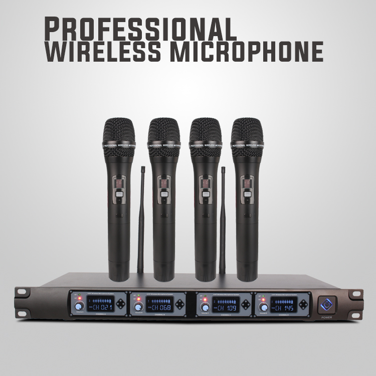 Microfone de lapela sem fio uhf profissional de 4 canais