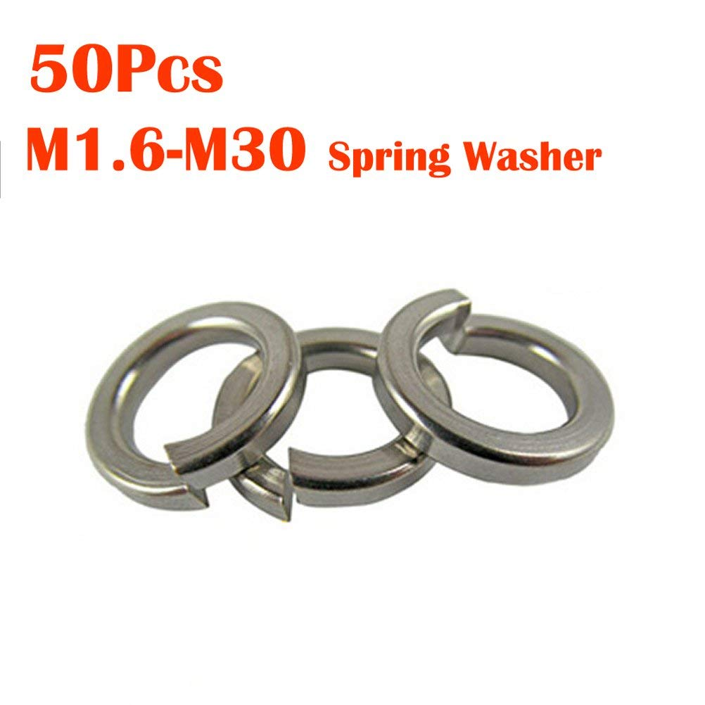 Stainless Steel M1.6 - M30 Split Lock Washer,Stainless Flat Washer Springs Power Washer Pack of 50